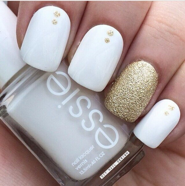 White nails with design