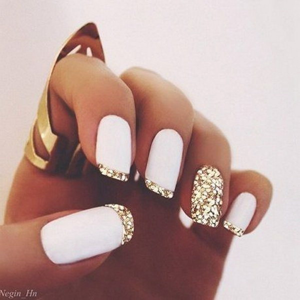 Gold Tips On White Background Nails