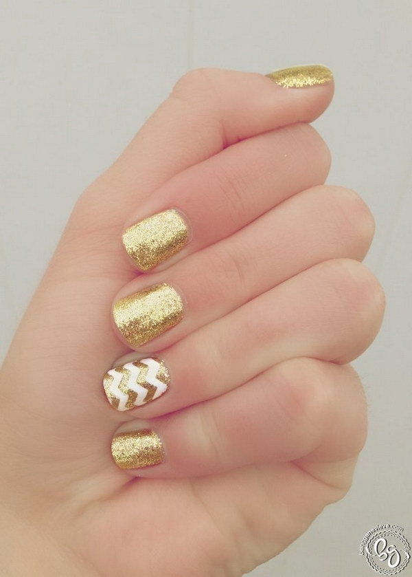 DIY Gold Mani Featuring Sparkly Chevrons.