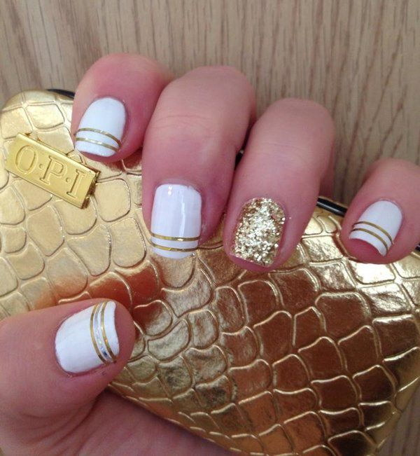 White and Gold with Striping Tape and Sparkles.