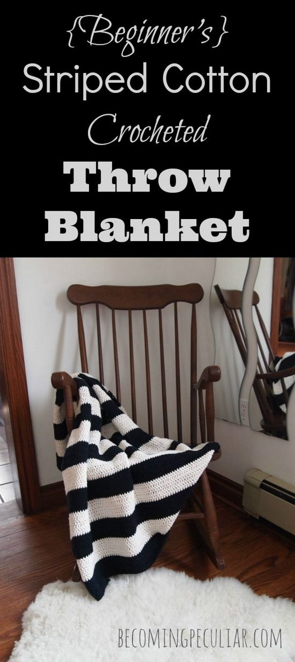 Crochet Striped Black and White Throw Blanket