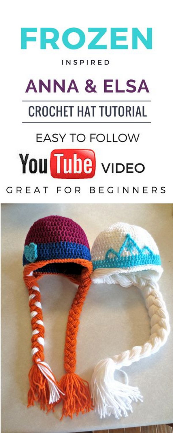 Easy Frozen Inspired Anna and Elsa Crochet Hat Tutorial