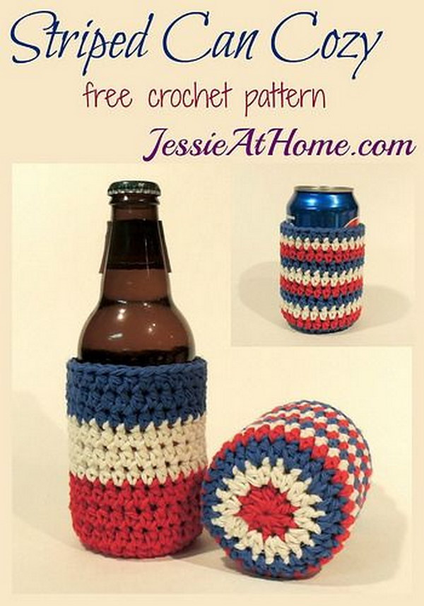 Striped Bottle and Can Cozy Free Crochet Pattern