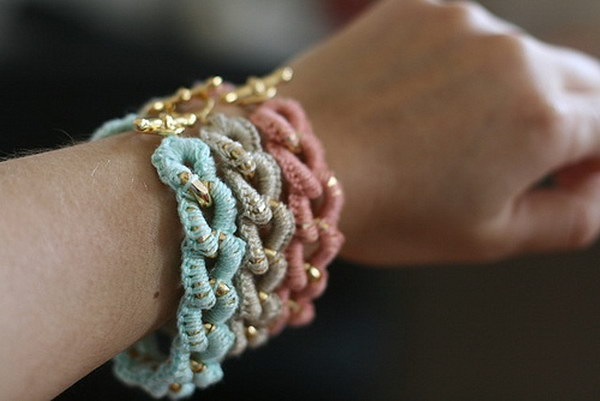 Simple Crocheted Chain Bracelets