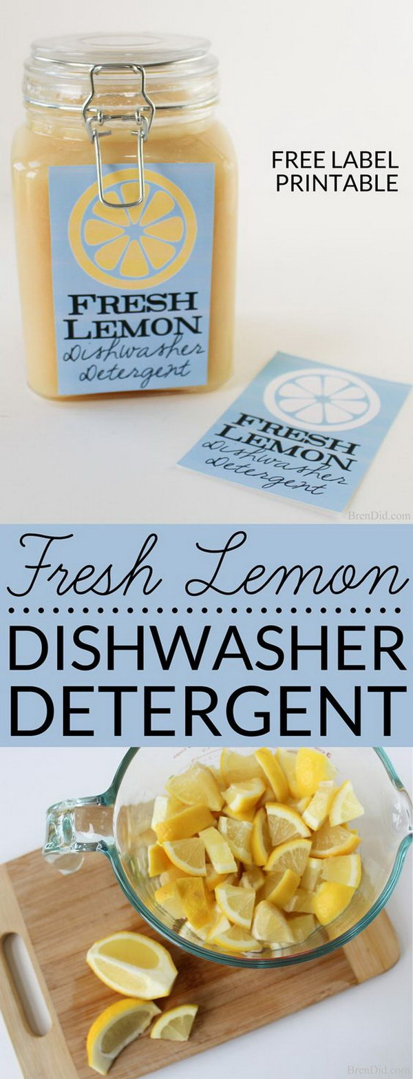 Fresh Lemon Homemade Dishwasher Detergent.