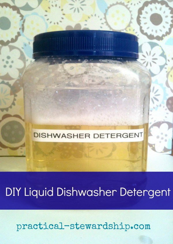 Homemade Three Ingredient Liquid Dishwasher Detergent.