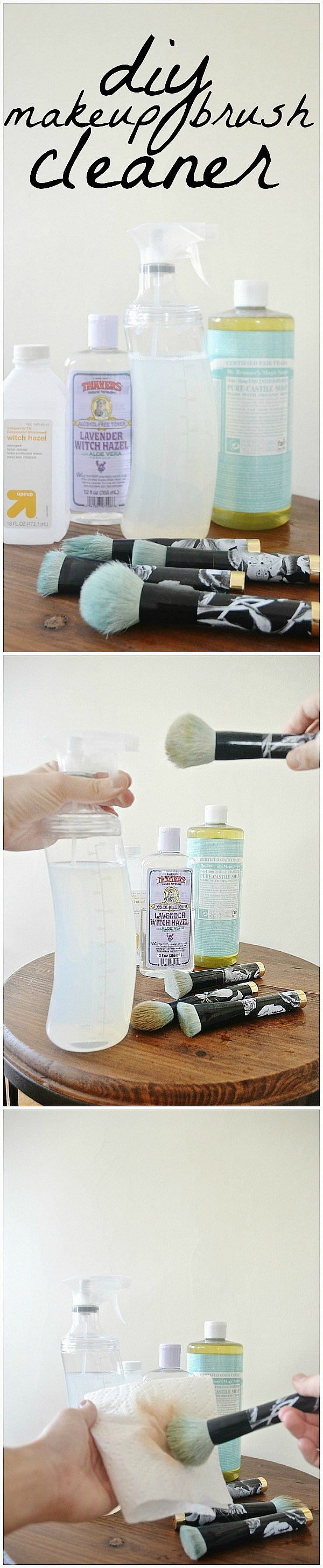DIY Makeup Brush Cleaner With Witch Hazel And Baby Soap.