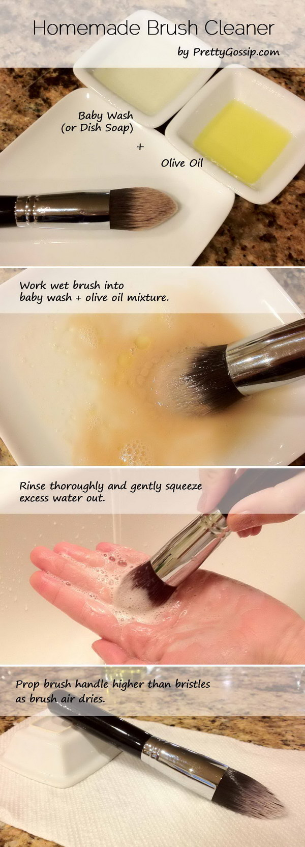 Homemade Makeup Brush Cleaner With Olive Oil And Dish Soap.
