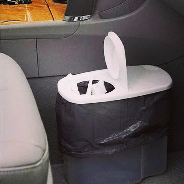 Mini on-the-go Trash Can Using a Plastic Cereal Container.