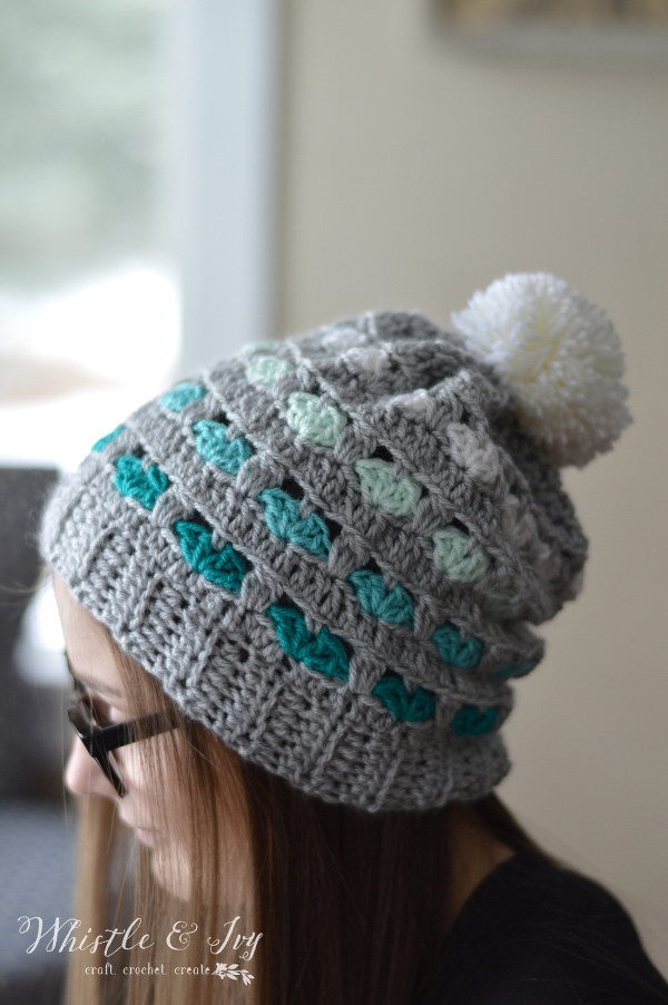 Puppy Love Heart Slouchy Hat.