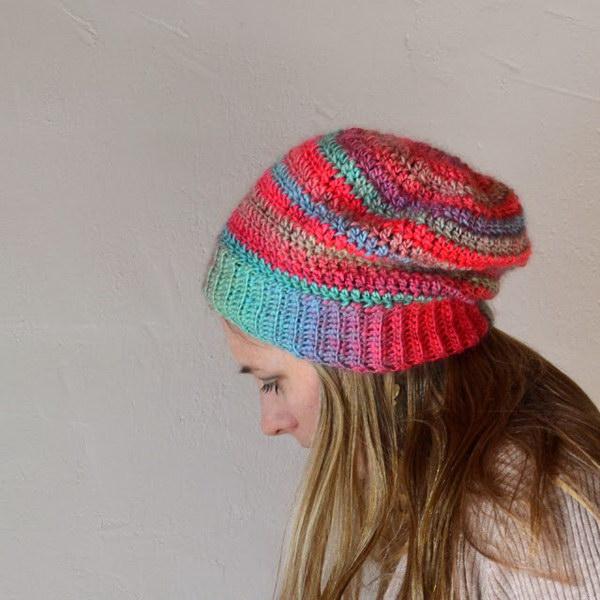 Crochet Slouchy Hat.