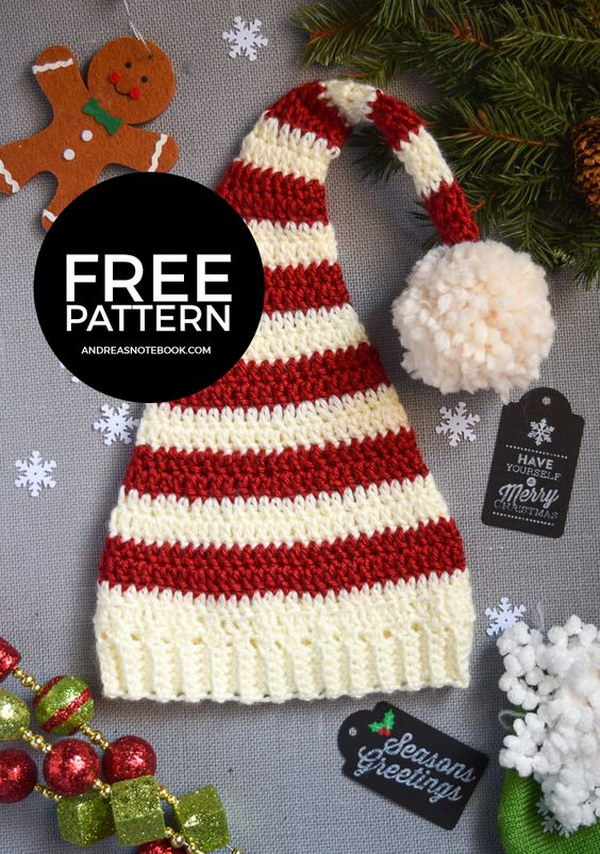Pixie Elf Striped Newborn Hat Crochet Pattern.