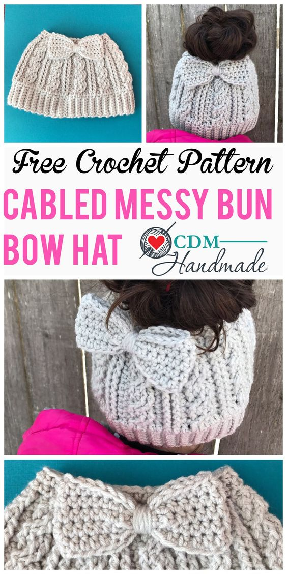 Cabled Messy Bun Bow Hat with FREE Crochet Pattern.