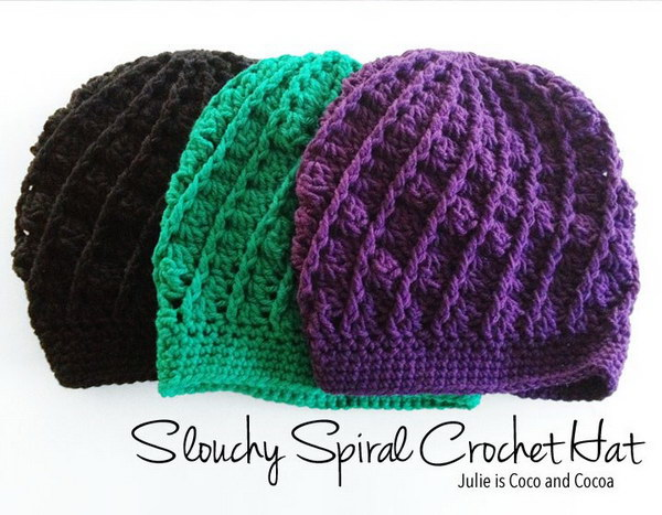 Slouchy Spiral Crochet Hat Pattern.