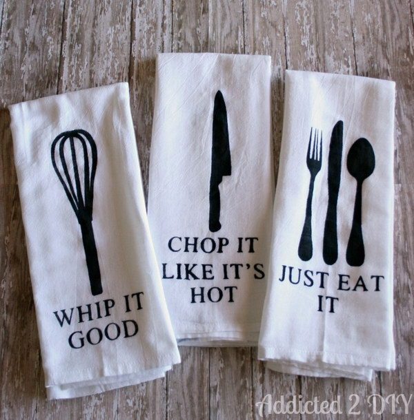 DIY Painted Kitchen Towels.