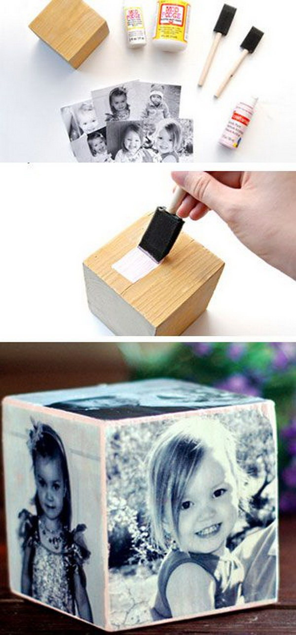 DIY Mothe's Day Photo Cubes.