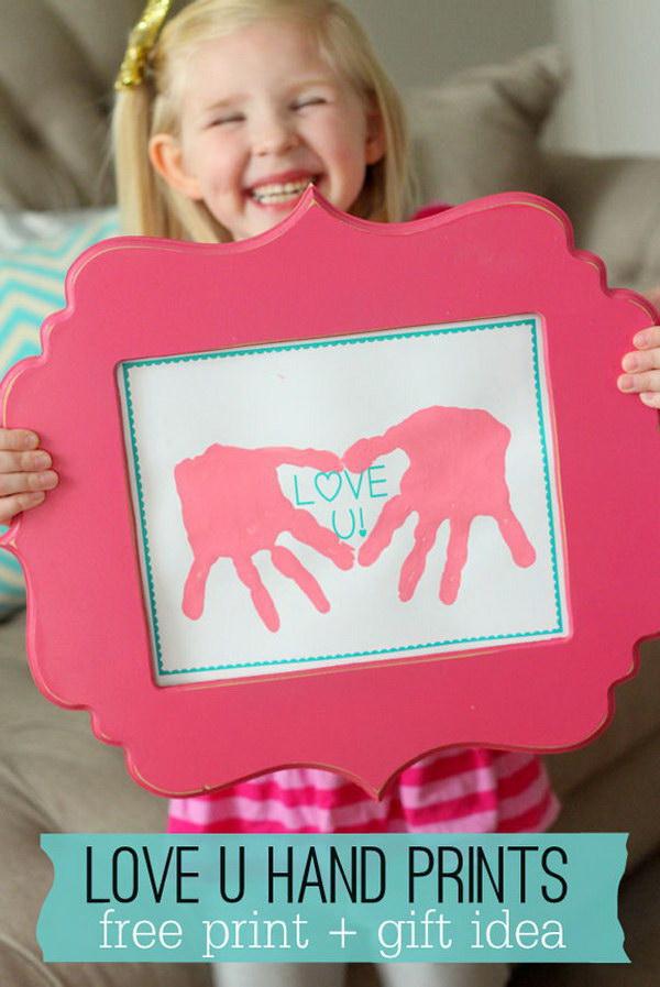 Love U Hand Prints Gift.