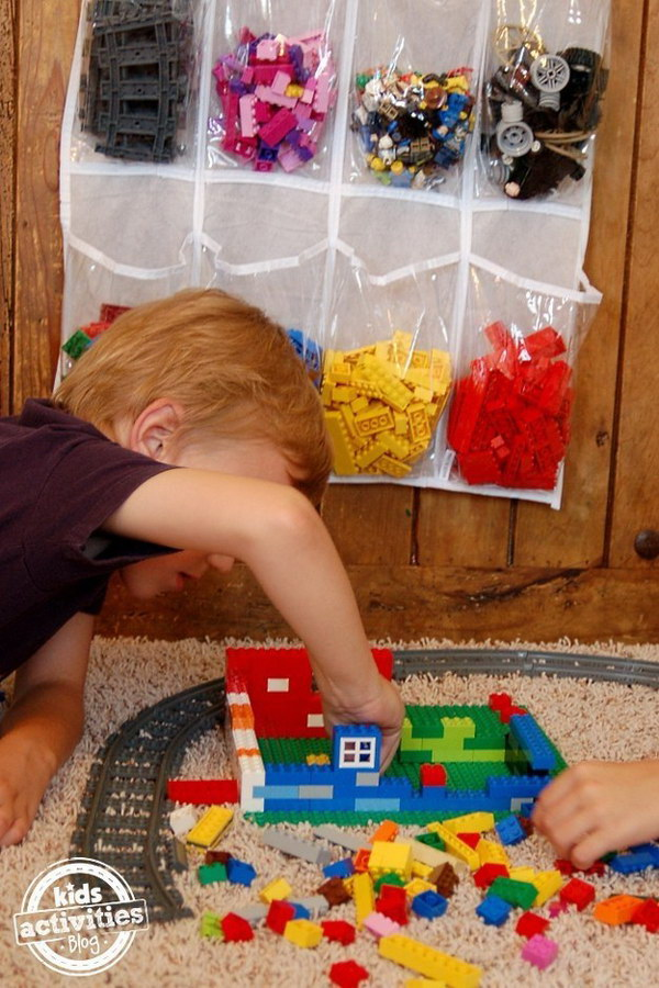 Storing and Organizing Lego Bricks a Snap Using a Shoe Storage Bag.