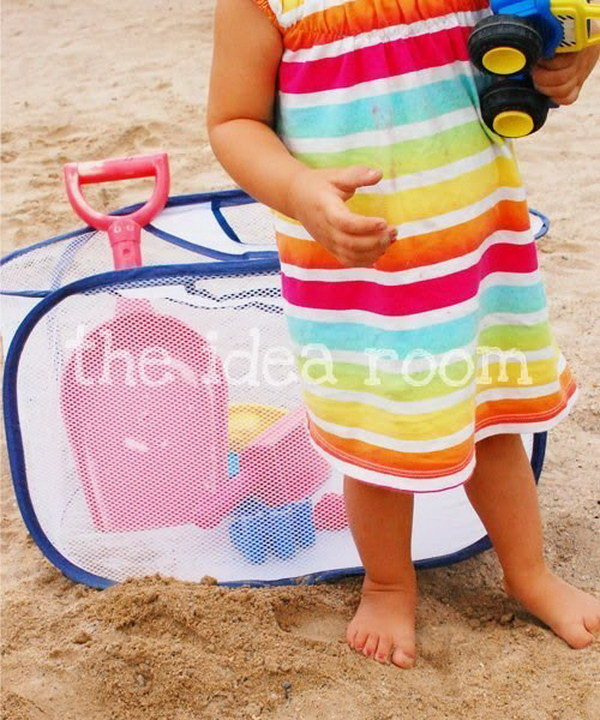Sand Toys Storage with Mesh Laundry Bag.