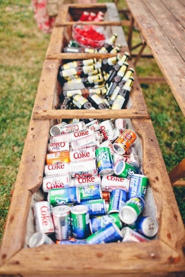 Rustic Flower Box Wedding Drink Cooler