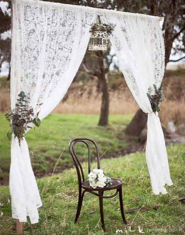 Lace Curtain Rustic Wedding Photobooth