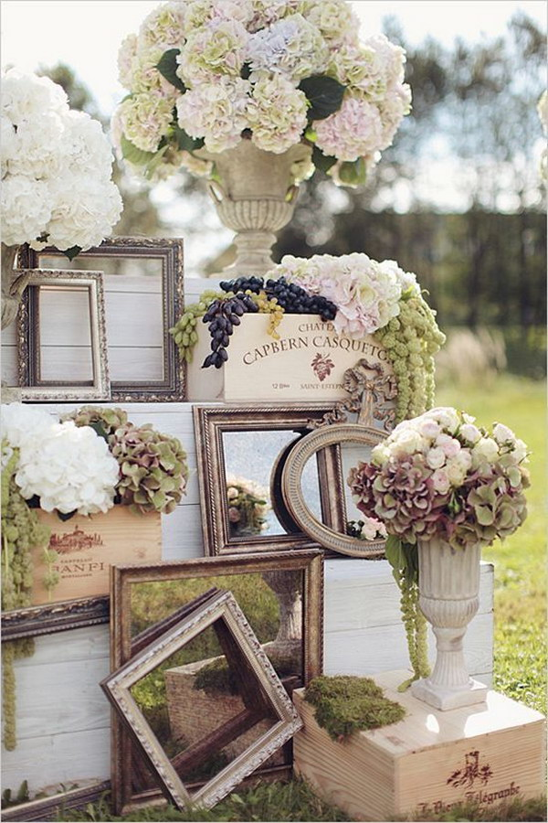 Vintage Photo Frames and Hydrangeas Wedding Flowers Backdrop