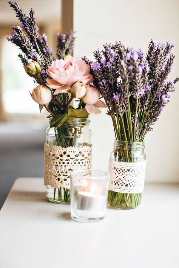Lavender and Lace Manson Jar Centerpiece