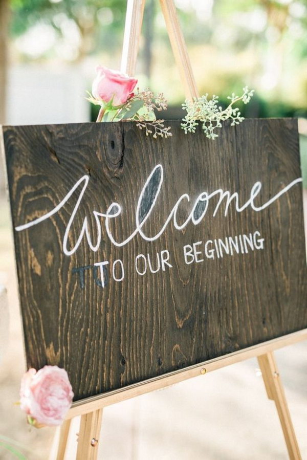 rustic welcome wedding reception sign - Wood Sign Design Ideas