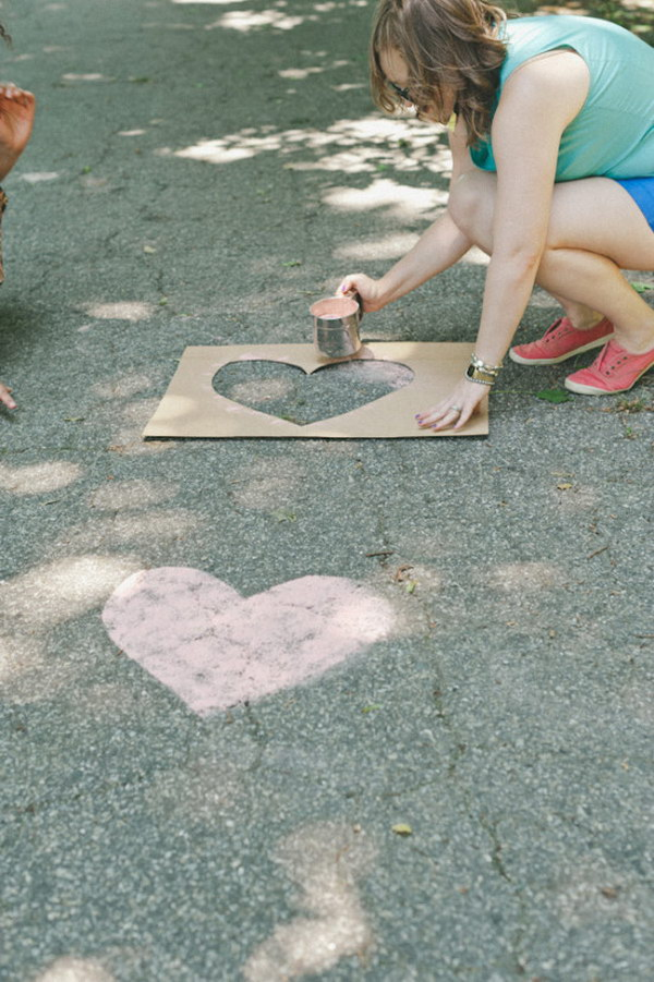 DIY Chalk Hearts on the Road to the Wedding