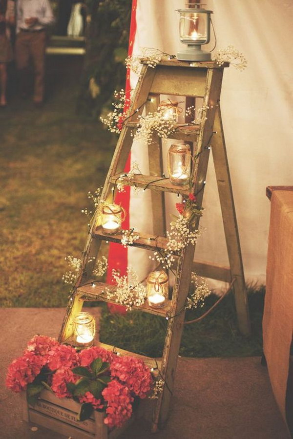Vintage Step Ladder Display with Glass Jar Lights