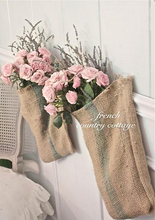 Burlap Bags with Flower Bundles