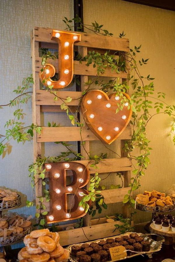 Marquee Monogram for Rustic  Wedding Dessert Table Decor