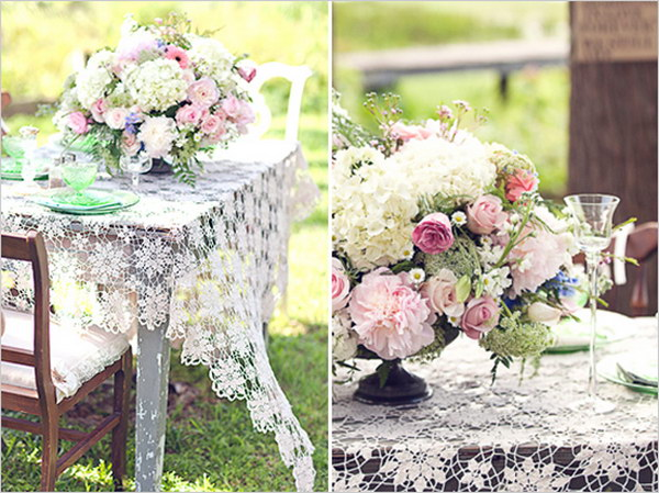 Vintage Lace Tables, Dinnerware & Chairs, and Big Lovely Florals