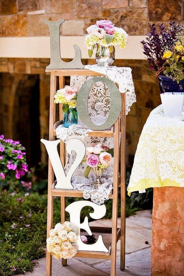 Ladder with Lace,Floral and Love Signs Wedding Decoration