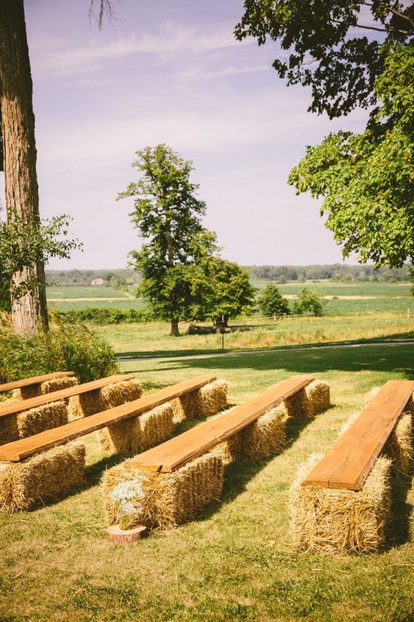 Rustic Hay Bale and Boards Wedding Seating