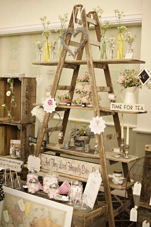 Old Ladder Display for Rustic Wedding Decoration