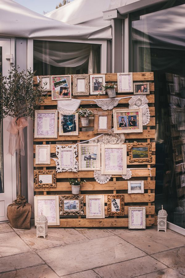 Wooden Pallet Photo Display with Photos and a Seating Chart