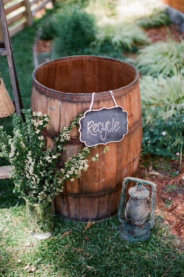 Wine Barrel Wedding Recycling Station with Chalk Board Sign