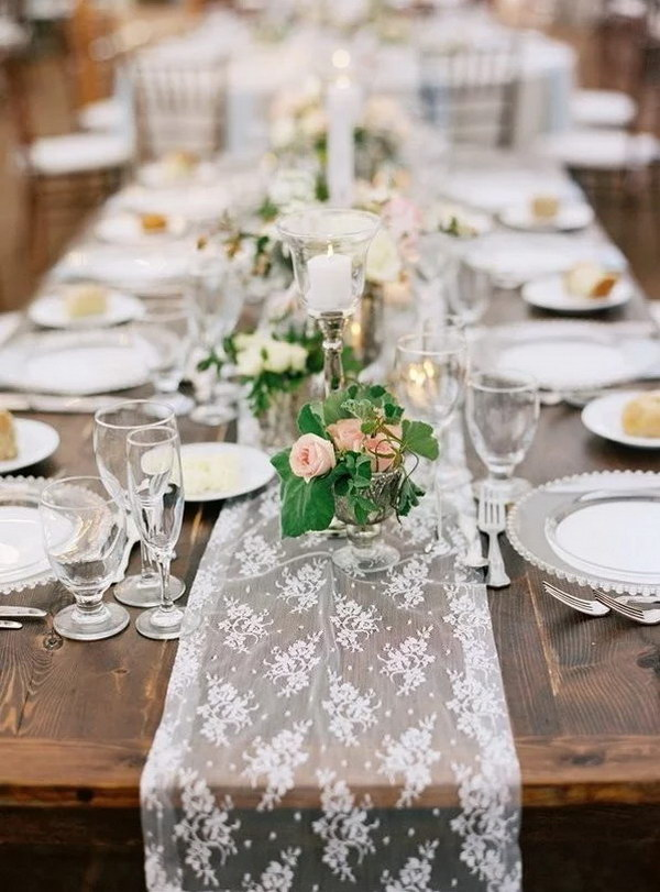 Romantic Lace Table Runner for Rustic Wedding