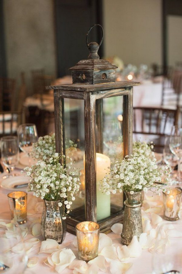 Rustic, Chic Lantern and Baby's Breath Centerpiece
