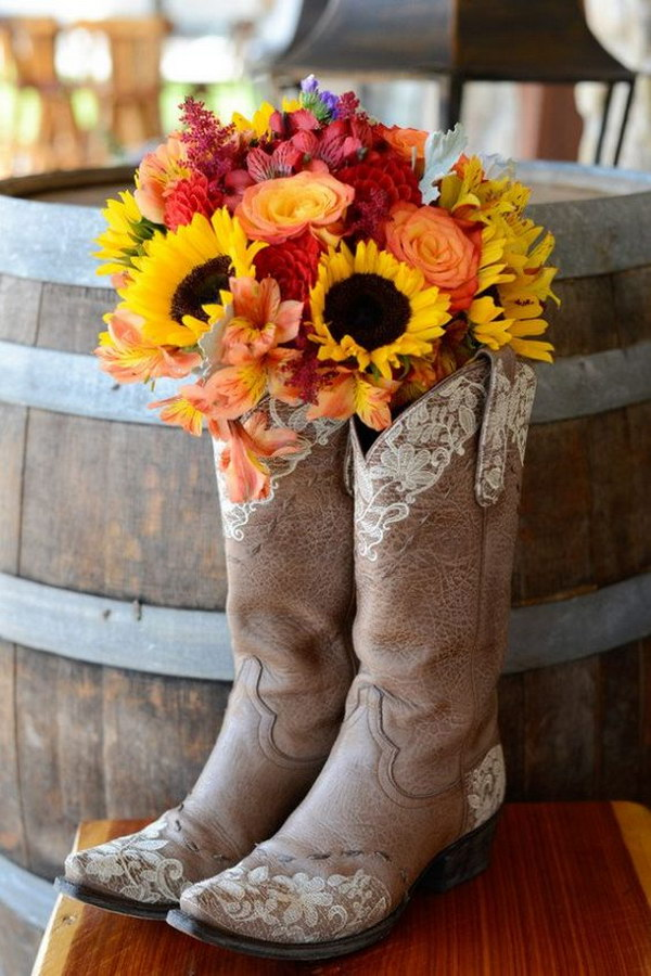 99 rustic real wedding ideas - Cowboy Boot Wedding Decorations
