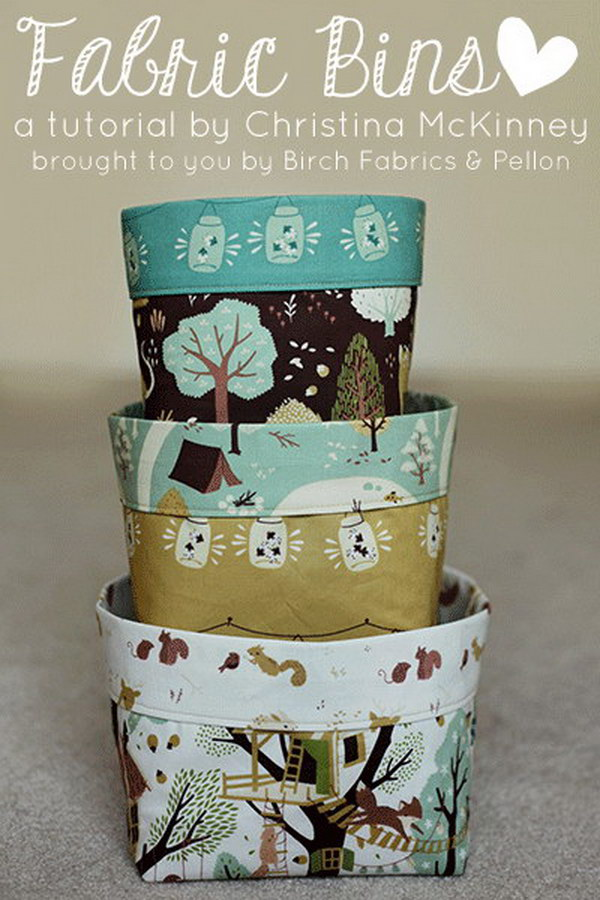 Fabric Bins Free Sewing Pattern