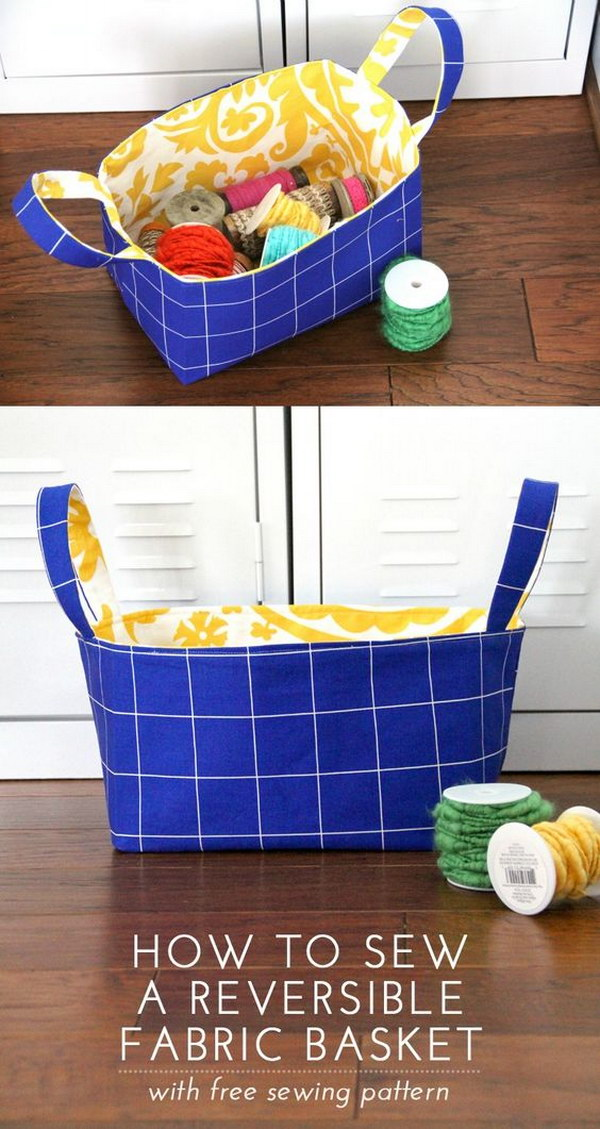 DIY Reversible Fabric Basket