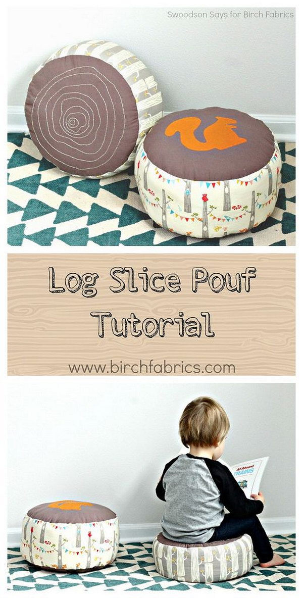 DIY Log Slice Pouf