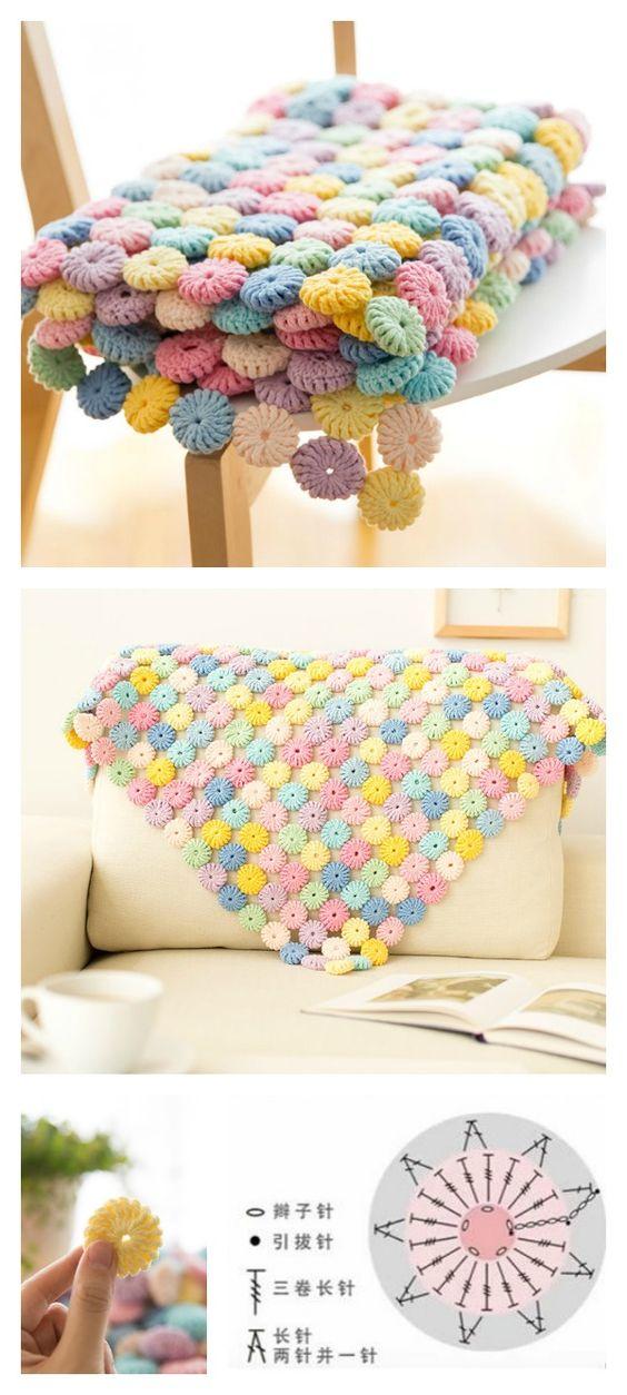 Crochet Macaron Stitch Blanket.