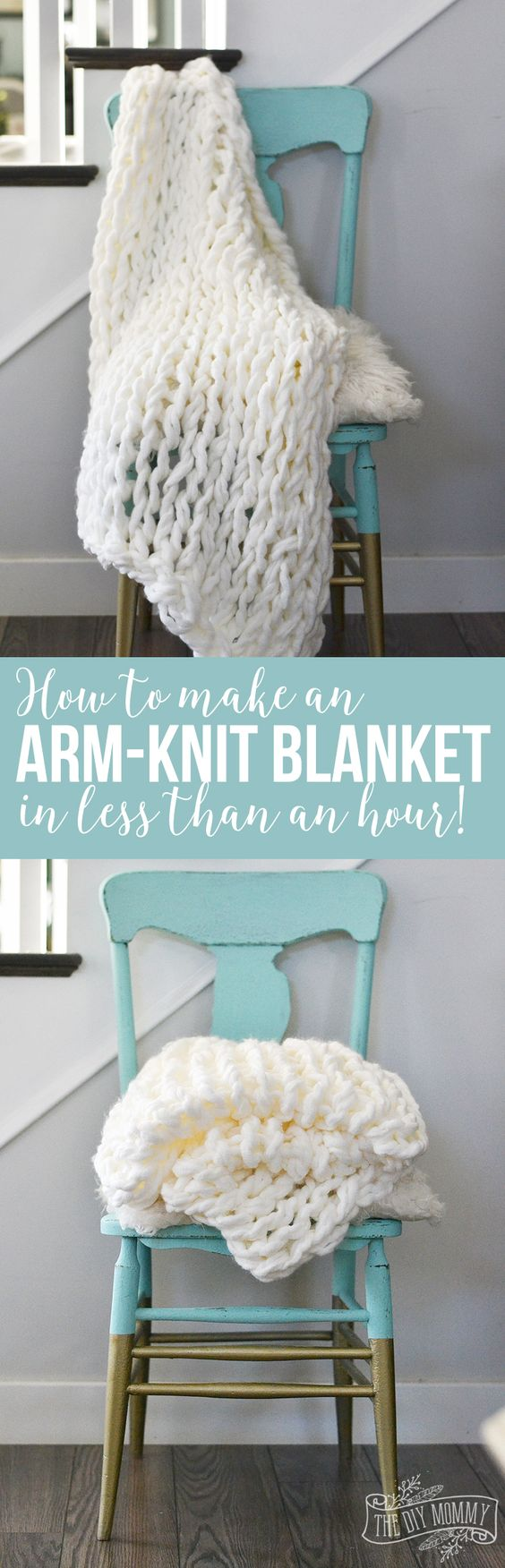 Make an Arm Knit Blanket in Less Than an Hour.