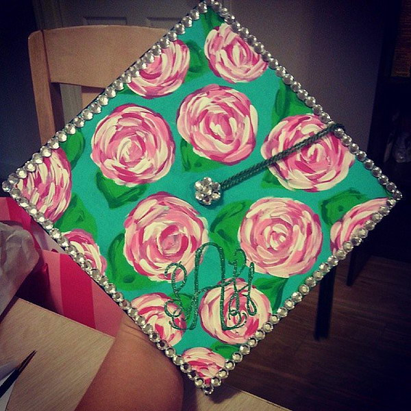 Phi Mu Lilly Graduation Cap Decorating