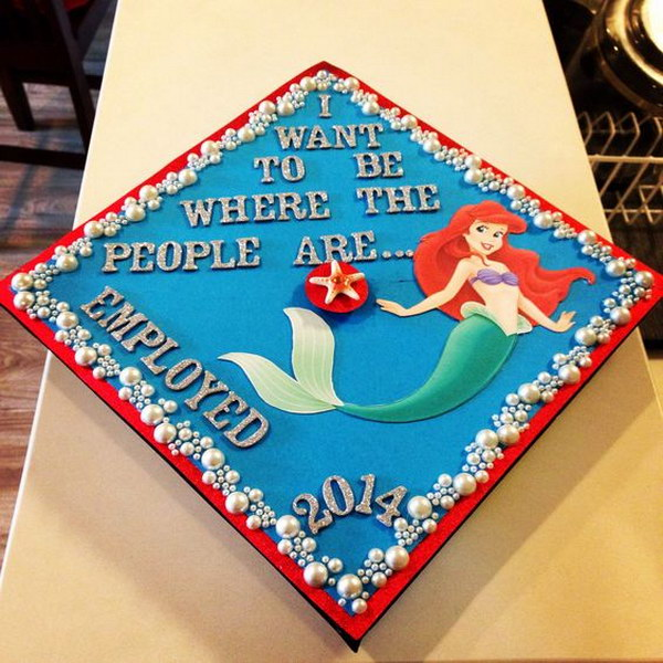 Beautiful Little Mermaid Graduation Cap