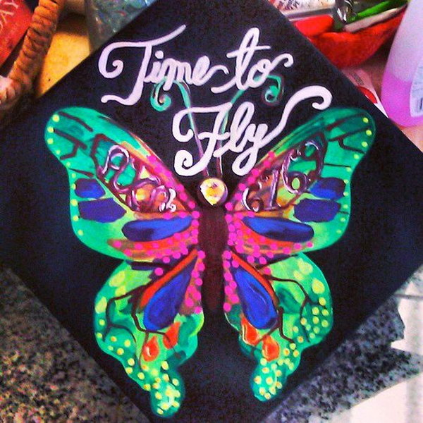 Time To Fly Butterfly Graduation Cap