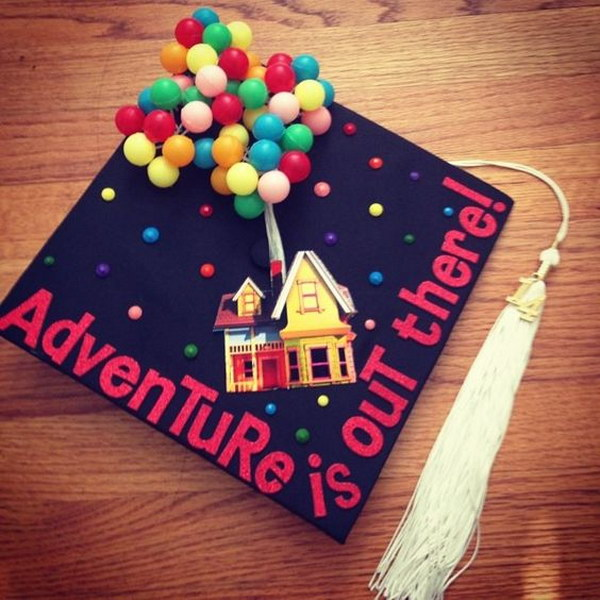 Up Themed Graduation Cap Decorating